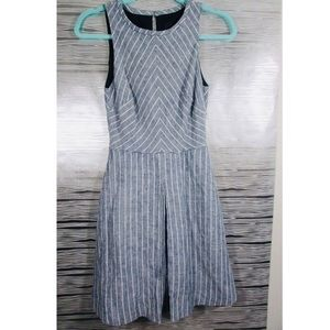 NWOT—Blue and White Diagonal Striped Linen Dress